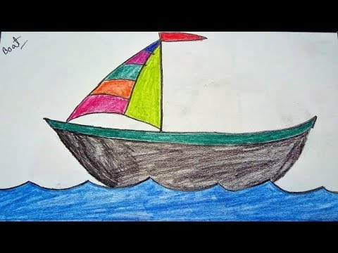 How To Draw A Sailboat On Water Easy Tutorial Drawing A Boat For Kids Youtube