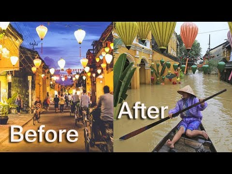 Hội An, before and after the floods by Typhoon Damrey, heavy rainfall, ancient city floodings