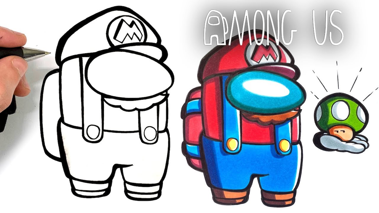Comment Dessiner Mario Among Us Colo Facilement Youtube