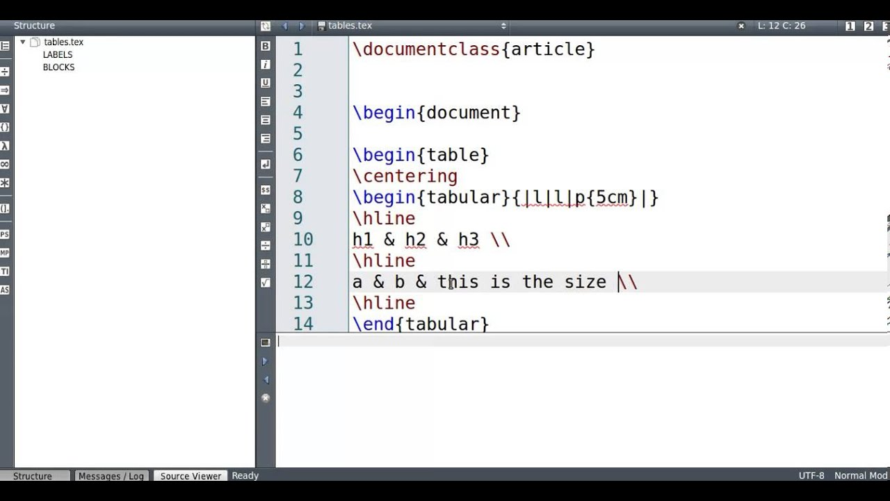 Latex insert table youtube for Table in latex