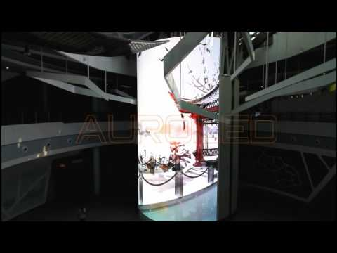 Transparent LED display (arc-shaped) project in a Chinese Museum