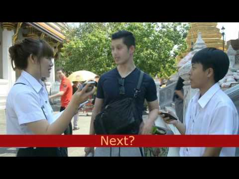 INTERVIEWING FOREIGNER TOURISTS AT WAT PHRA KAEW BY GROUP 1  SEC 701