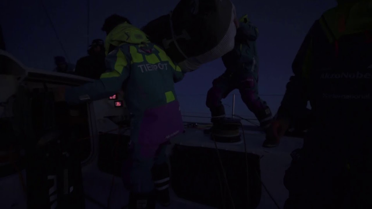 Night shot on deck. Stacking to leeward on the approach to the Norway buoy, I think.