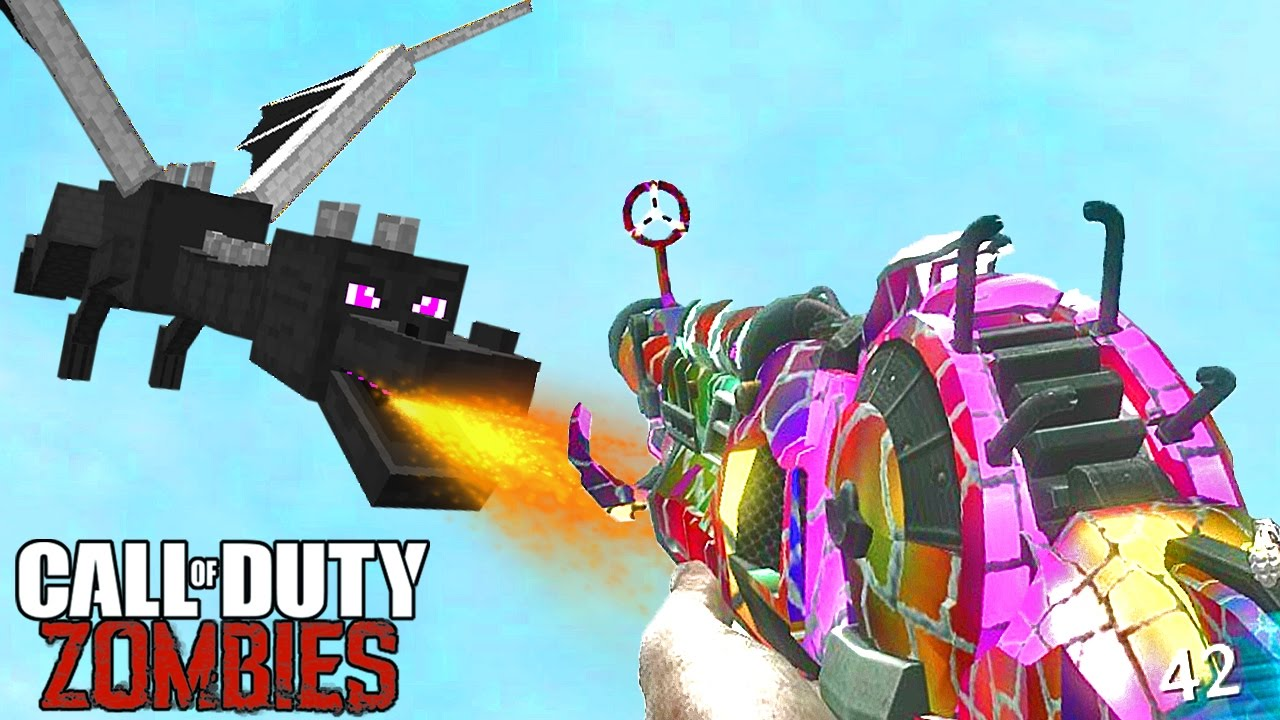 ENDER DRAGON EASTER EGG BOSS IN CALL OF DUTY ZOMBIES! Minecraft Village Remastered Mod Gameplay