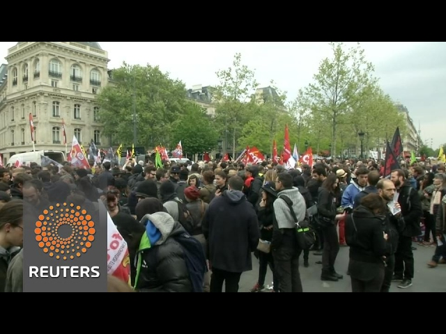Unions, activists protest ahead of first round of French presidential election