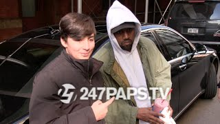 new exclusive kanye west leaving a soho equinox stops to take pics with fans in nyc 020716