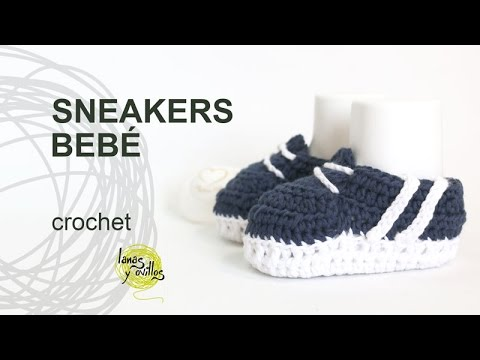 Tutorial Zapatillas o Sneakers de Bebé Crochet o Ganchillo en ...