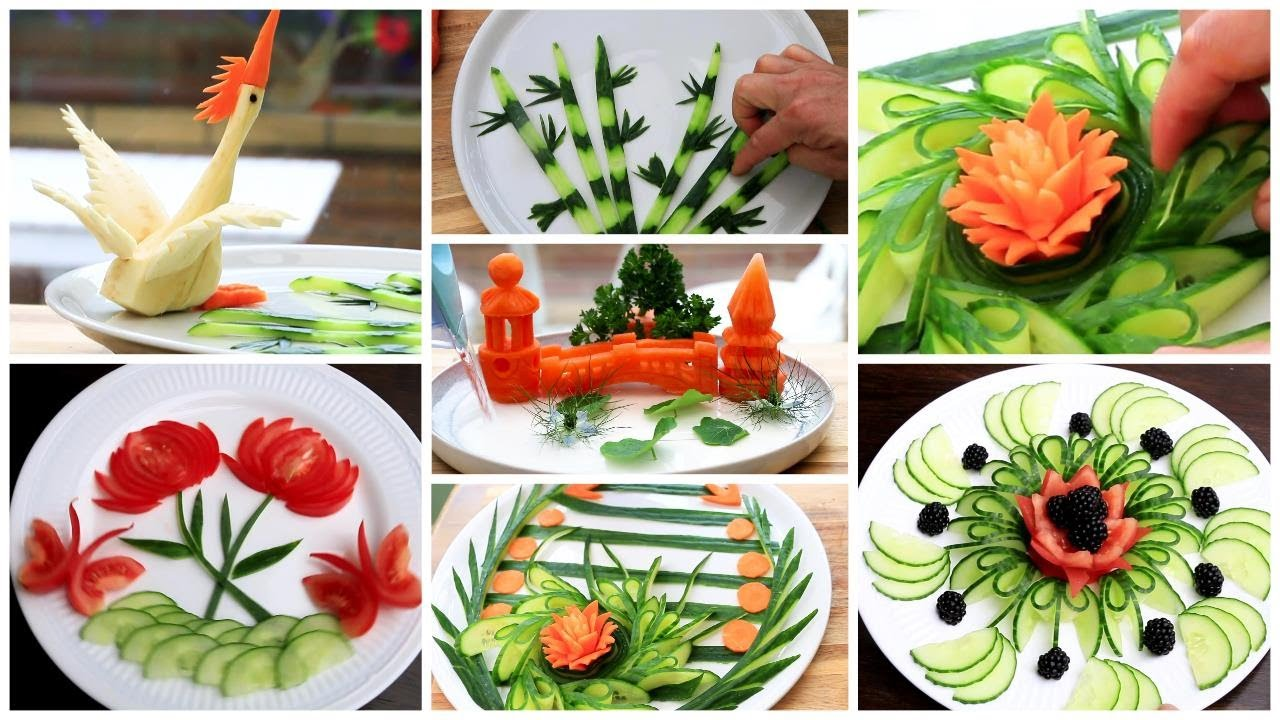 5 Super Salad Decoration For School Competition Ideas - Vegetable Carving Competition