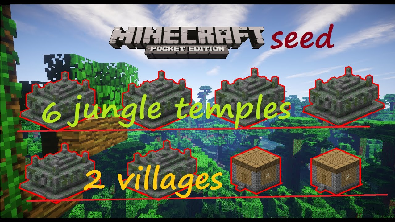 Mcpe 1 0 0 - Epic 6 Jungle Temples  2 Villages Seed