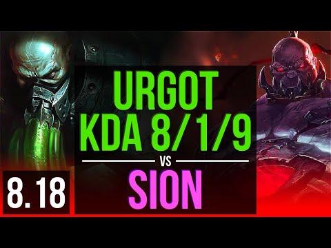 URGOT vs SION (TOP) | KDA 8/1/9, Dominating | Korea Master | v8.18
