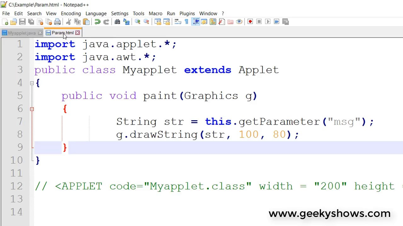 how to add parameters in threads java