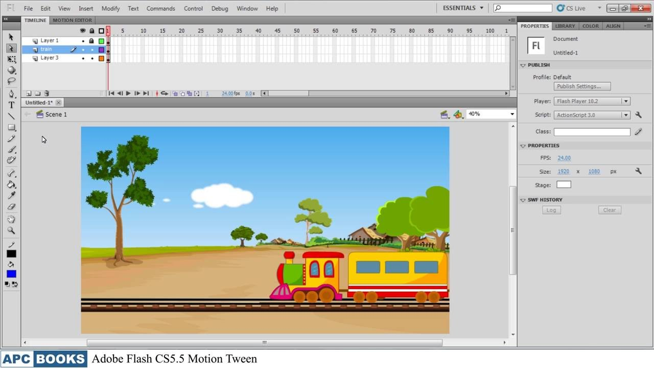 Adobe Flash CS5.5- Motion Tween - YouTube