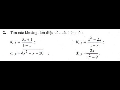 Bài tập 2 trang 10 SGK Giải Tích 12 (Sự đồng biến, nghịch biến của hàm số) (a,b)