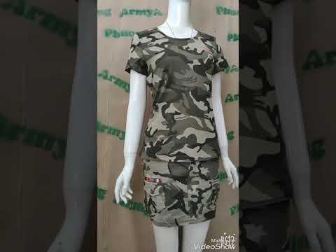 Bộ áo Phông Cộc Quần Sóc Rằn Ri - Thời Trang Lính Nữ