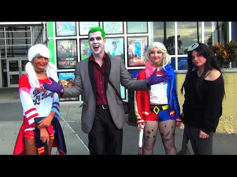 Suicide Squad Antics at Movie Premiere! Featuring Joker, Harley Quinn, Enchantress & Pikachu!