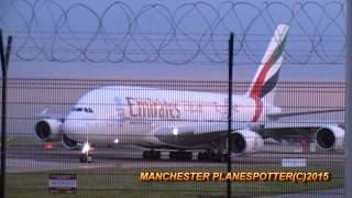 emirates airbus a380 861 a6 eoc on ek20 taxing taking off at manchester airport on 01 07 2015