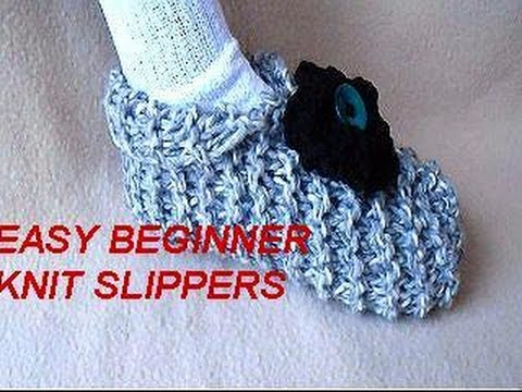 How To Knit Slippers Beginner Level Easy Unisex Slippers To Knit