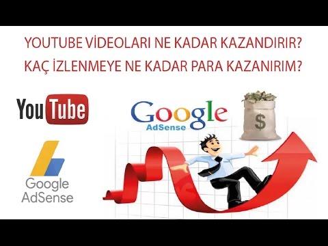 Youtube videoları kaç izlenmeye kaç lira reklam geliri kazandırır? | Youtube Para Kazanma