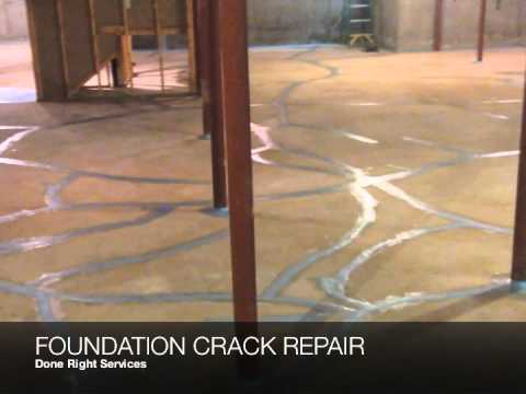 done right services foundation crack repair basement concrete floor