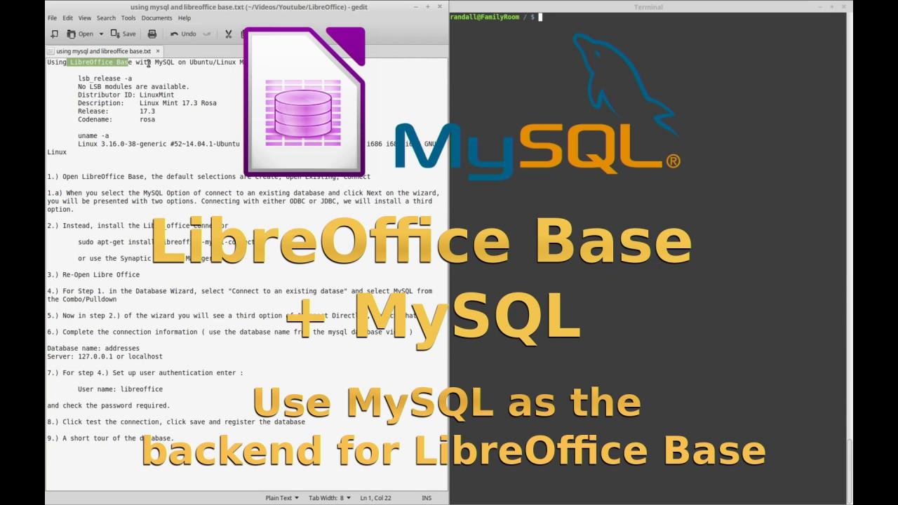 LibreOffice Base using MySQL Backend. - YouTube