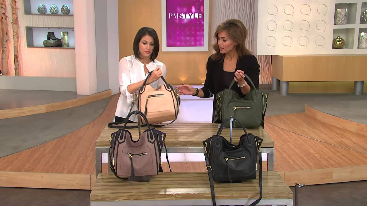 Qvc Masson Oryany Italian Leather Satchel Medium Ruby With Lisa
