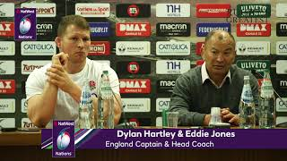 Dylan Hartley and Eddie Jones after England v Italy | NatWest 6 Nations