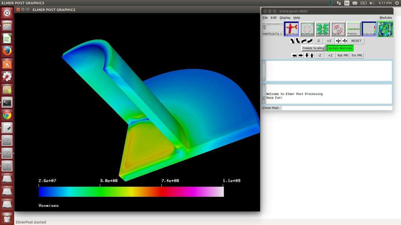 Elmer-FEM  Coupled Thermal-Static (Elastic) Transient Analysis