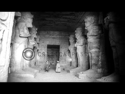 Engineers and workers from various nation work to save ancient Egyptian temples o...HD Stock Footage