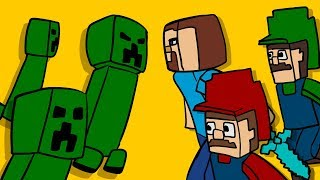 STEVE helps MARIO and LUIGI vs Minecraft CREEPER