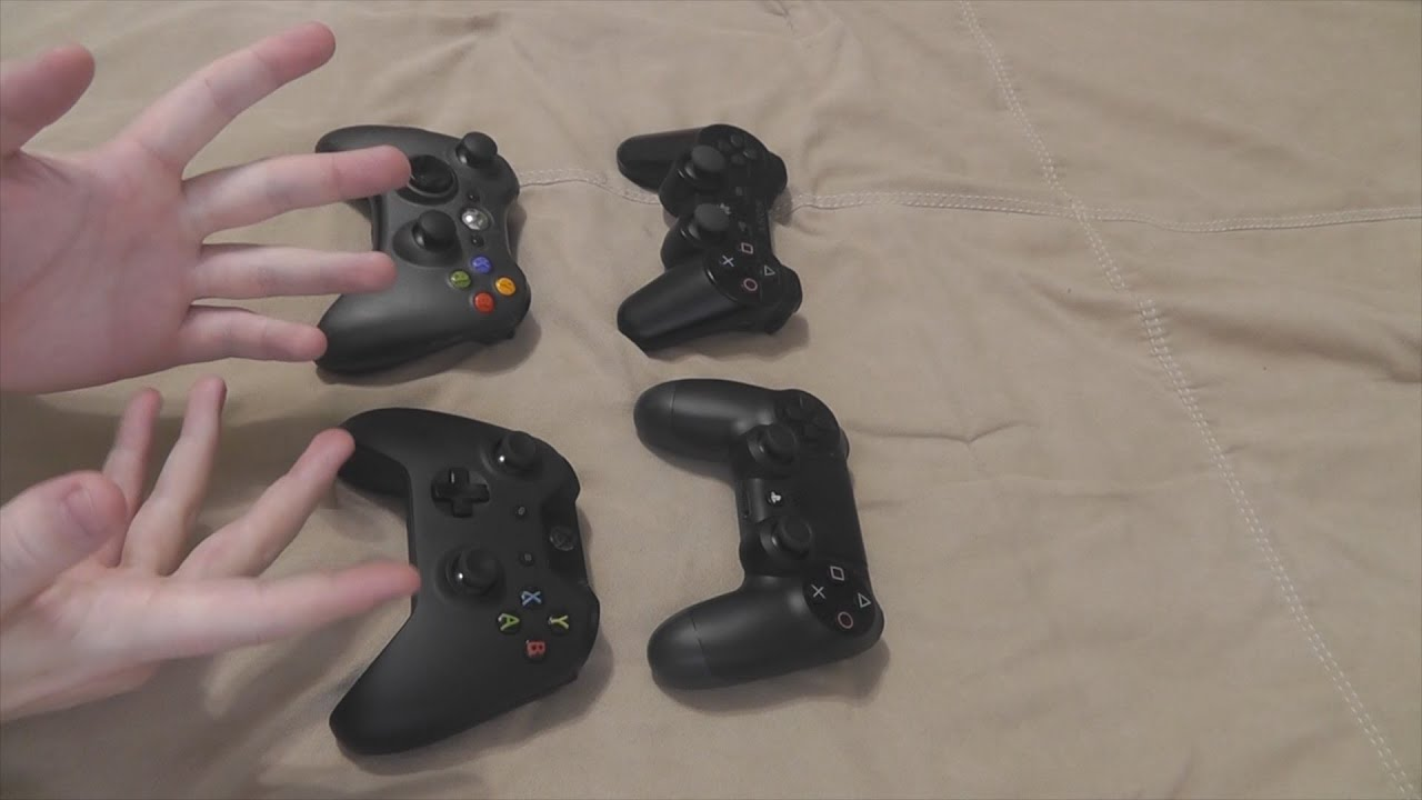 BIG HANDS: PS4 vs Xbox One Controller vs Xbox 360 Controller vs PS3  Controller Comparison