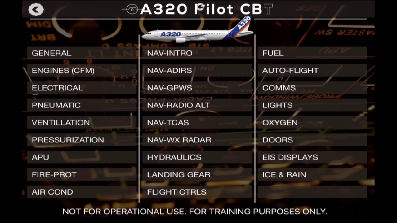 A320 CBT trainer on iOS Apple & Google-play