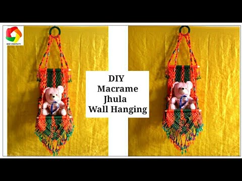 How to make macrame jhula wall hanging youtube for How to make jhula at home