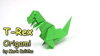 Origami T-Rex easy Dinosaur | Como fazer origami dinossauro -  Origami easy tutorial