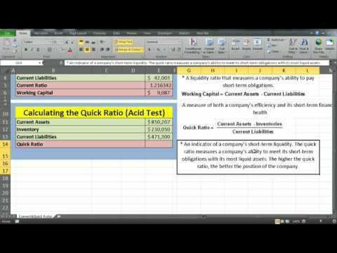 Financial Analysis- Current  Quick Ratio using excel - YouTube
