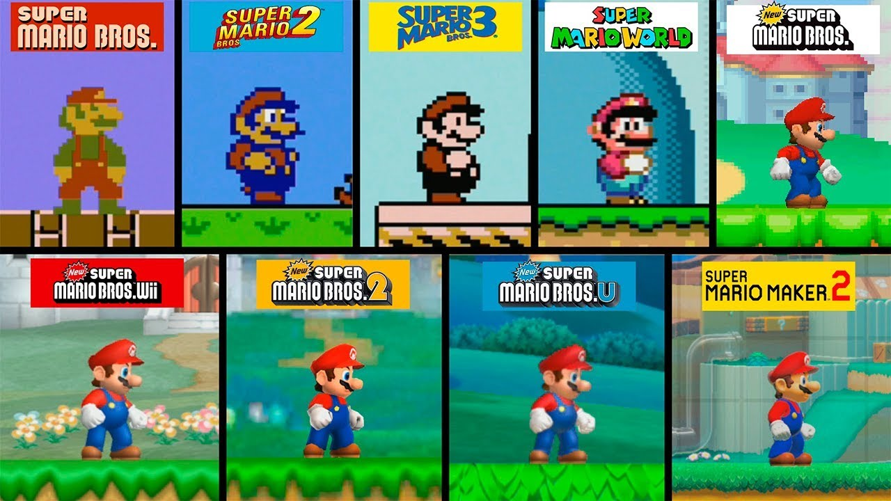 Super Mario Bros | 2D Graphics Evolution | HD Models | 1983 - 2019 - YouTube