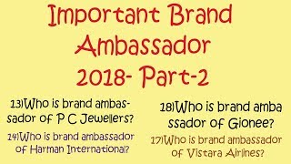 Brand Ambassadors 2018 for all competitive examination|| Part-2|| Vedant Maths.
