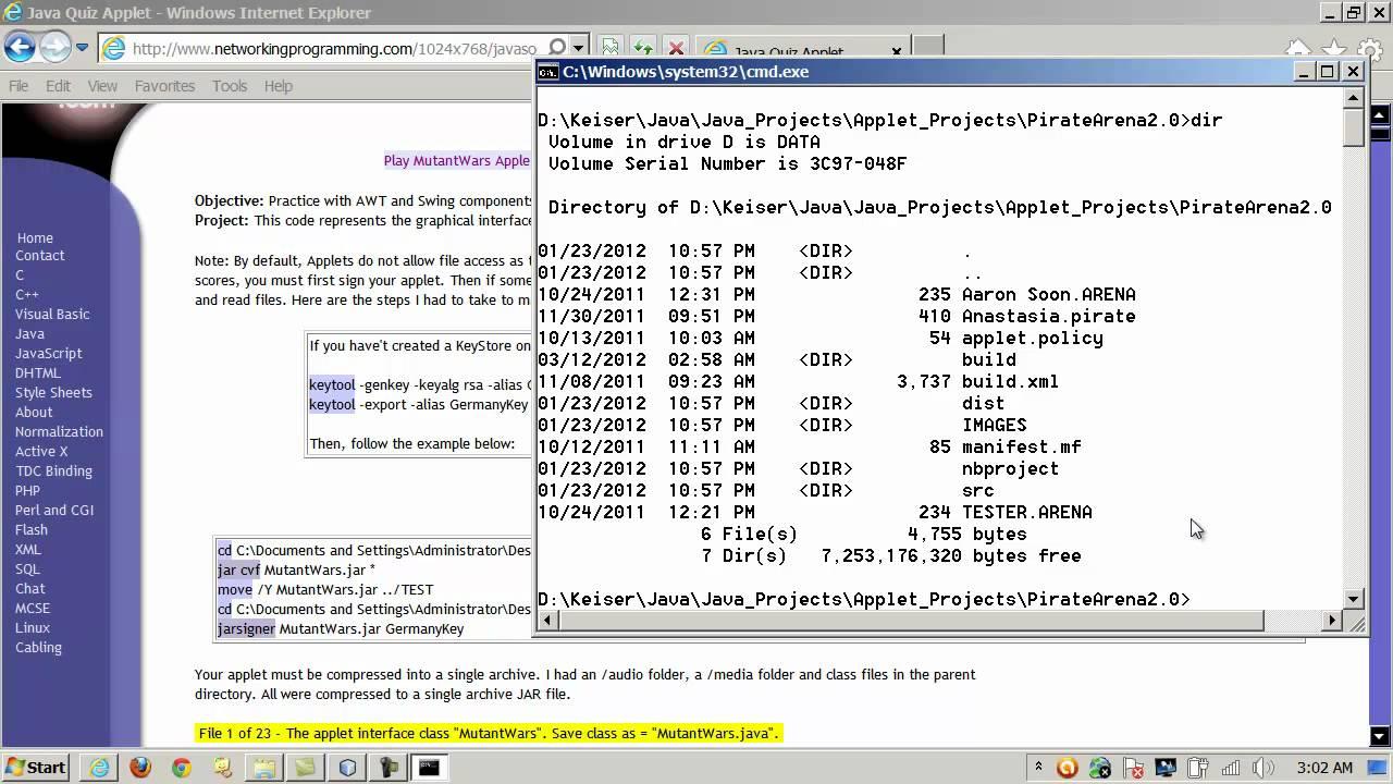 Java - jar, jarsigner and keytool - Signing JApplets - YouTube