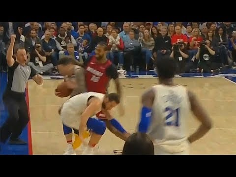 James Johnson Hits Marco Belinelli and JJ Redick Using Clotheslines! Sixers vs Heat