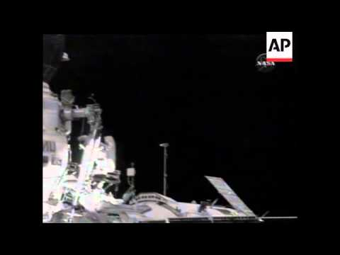Cosmonaut hits golf ball into space.