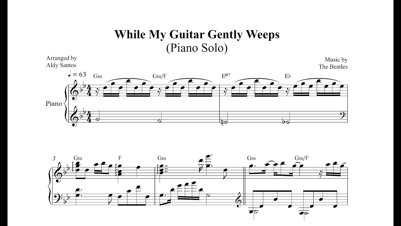While My Guitar Gently Weeps Piano Sheet Music Mersnoforum