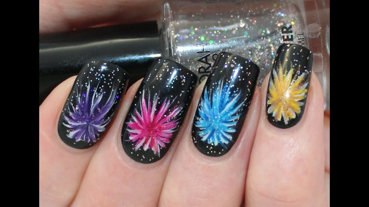 New years eve firework nail art tutorial youtube prinsesfo Images