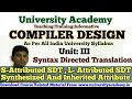 L33:Compiler Design,S-Attributed and L- Attributed Grammar,Synthesized and Attribute,Inherited hindi