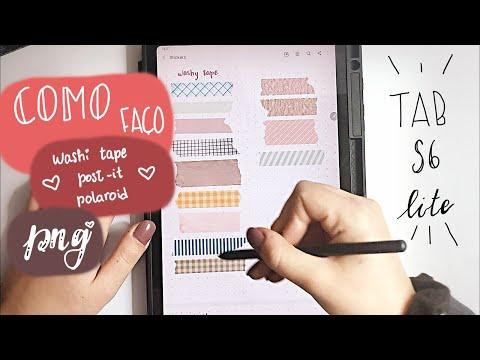 🌺Washi tape, post-it, polaroid png: Como faço, passo a passo | Tab S6 Lite🌺