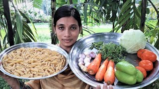 Vegetable Pasta Recipe | Pasta with Vegetables Village Style Cooking By Street Village Food