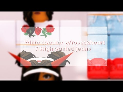ROBLOX Speed Design: White  Sweater w/Rose & High wasted Jeans