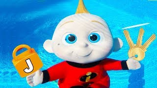 Incredibles Family Jack Jack Swimming Pool Pretend Play at Toy Hotel - Episode 8