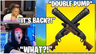 STREAMERS Reacts TO *DOUBLE PUMP* FINALLY BACK TO FORTNITE..! (Fortnite Moments)