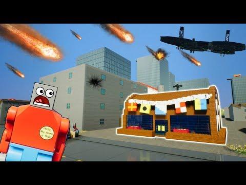 LEGO METEOR SHOWER DESTROYS CITY! - Brick Rigs Gameplay Challenge & Creations - UFO Invasion
