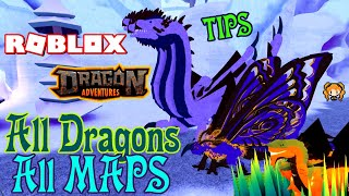 ROBLOX DRAGON ADVENTURES ALL DRAGONS! BEST PLACE TO FARM Grasslands Jungle Ocean Tundra Volcano MAPS