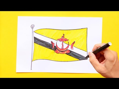 How to draw National Flag of Brunei